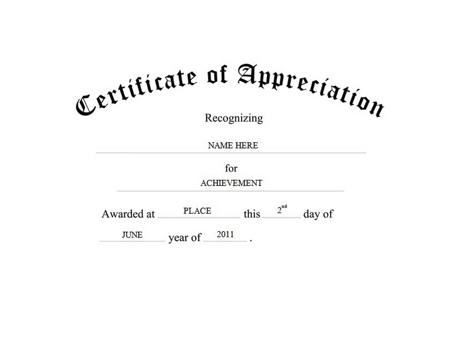 Certificate of Appreciation Free Templates Clip Art  Wording