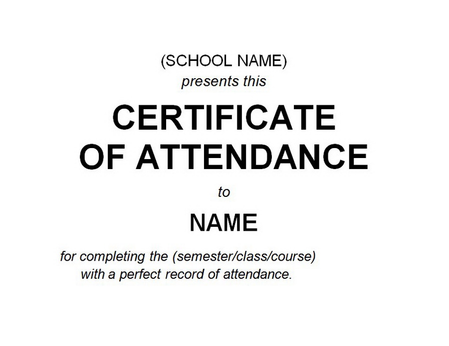 Certificate of Attendance 2 Free Word Templates Customizable Wording - printable certificate of attendance