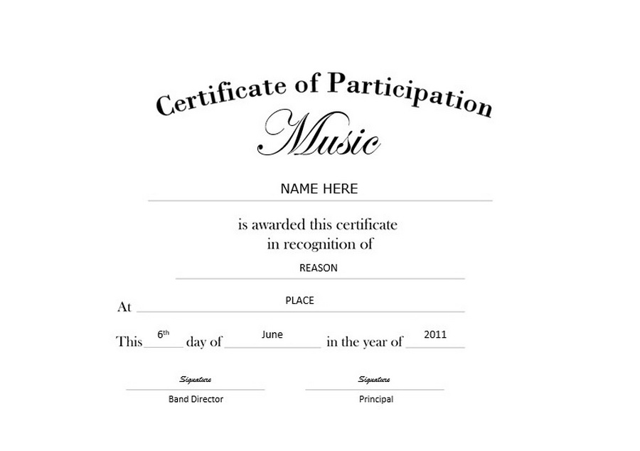 Certificate of Participation Landscape Free Templates Clip Art  Wording