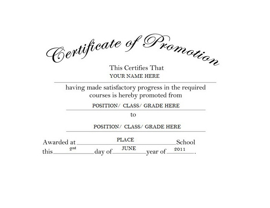 Certificate of Promotion Free Templates Clip Art  Wording Geographics