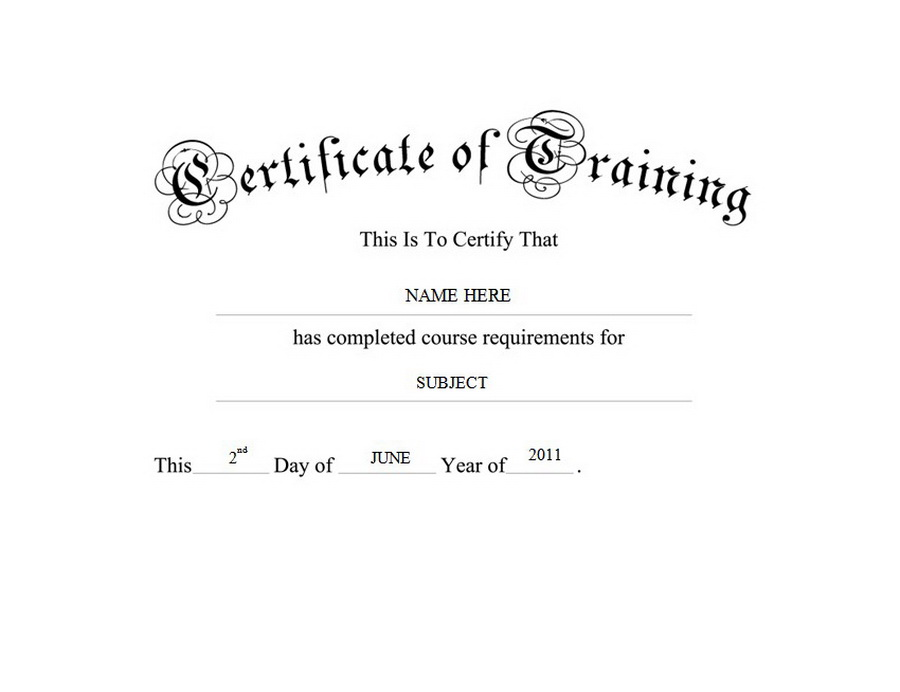 Certificate of Training Free Templates Clip Art  Wording Geographics