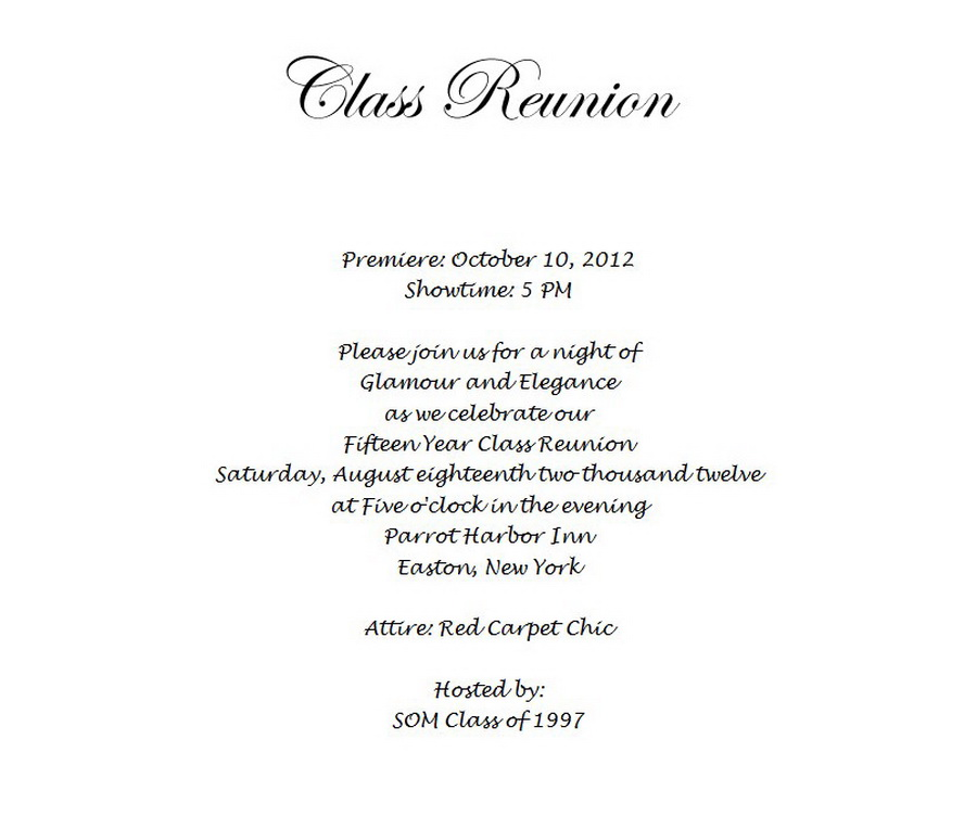 Class Reunion Invitation 3 Wording Free Geographics Word Templates