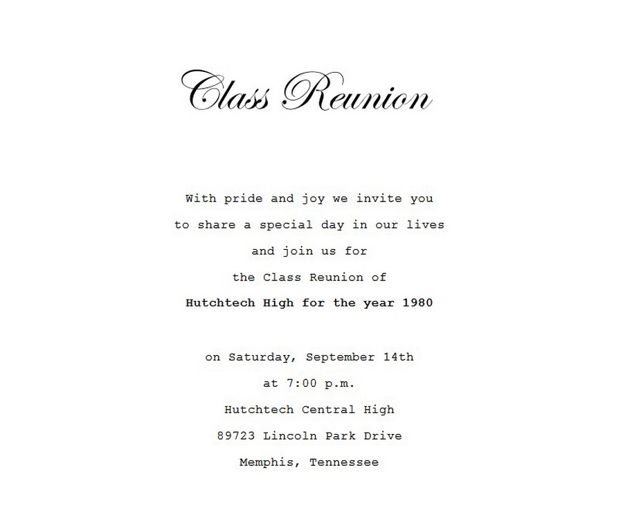 Class Reunion Free Suggested Wording by Theme Geographics - class reunion invitation template