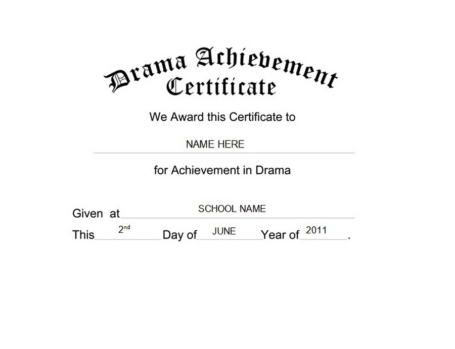 Drama Achievement Certificate Free Templates Clip Art  Wording