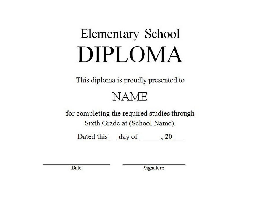 Elementary School Diploma 1 Free Word Templates Customizable Wording - Diploma Wording