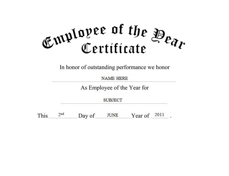 Employee of the Year Certificate Free Templates Clip Art  Wording