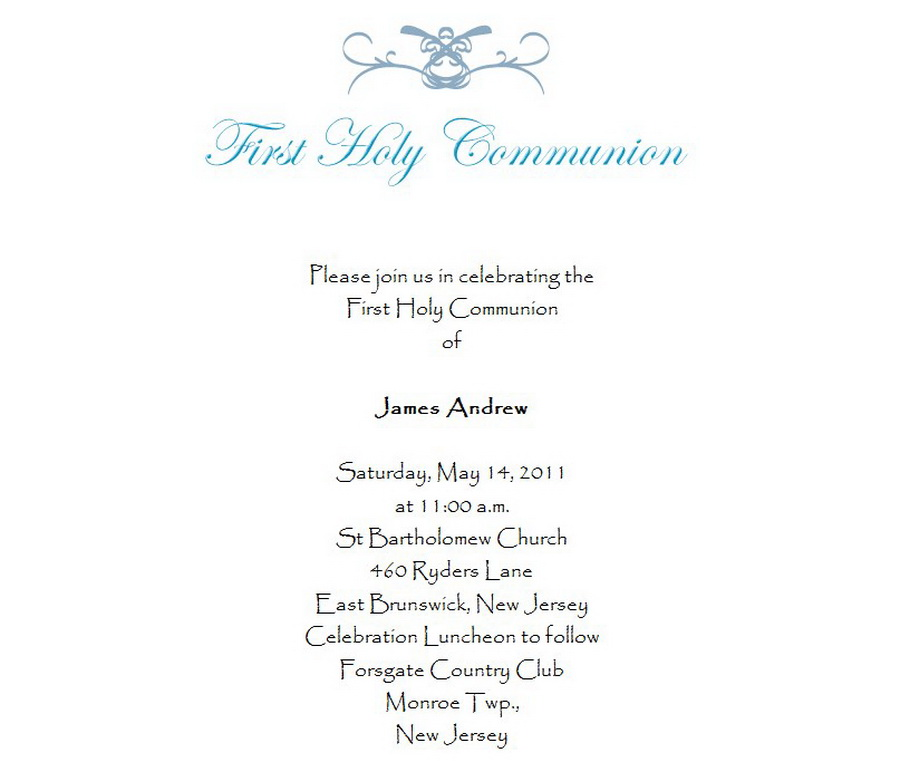 First Communion Invitations 3 Wording Free Geographics Word Templates