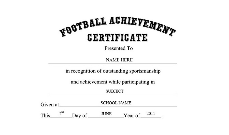 Football Achievement Certificate Free Templates Clip Art  Wording