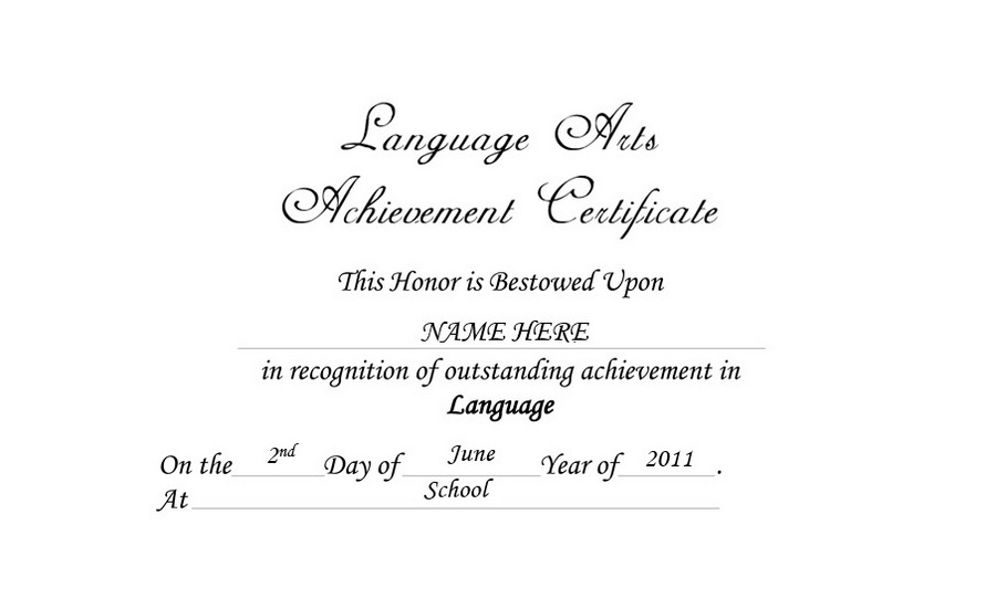 Language Arts Achievement Certificate Free Templates Clip Art  Wording