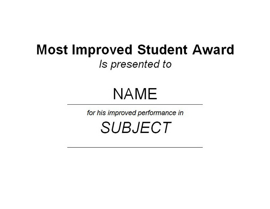 Most Improved Student Award 1 Free Word Templates Customizable Wording