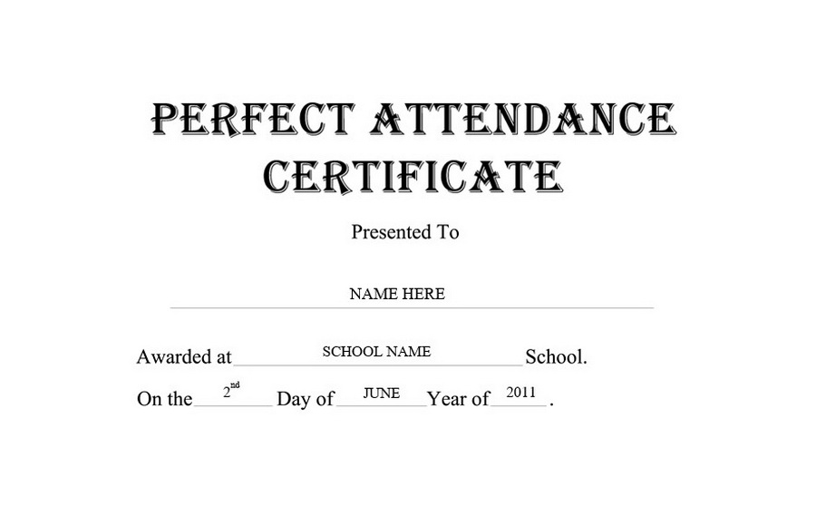 Perfect Attendance Certificate Free Templates Clip Art  Wording - free perfect attendance certificate template