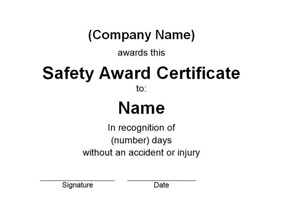 Safety Award Certificate Free Word Templates Customizable Wording - awards certificates templates for word