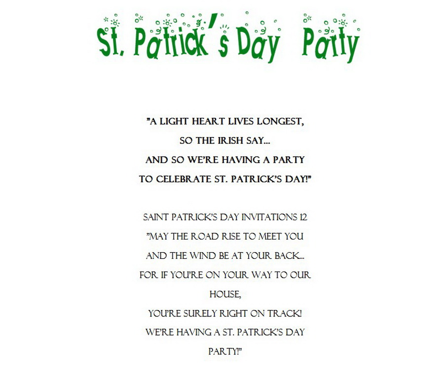 St Patricks Day Invitations 11 Wording Free Geographics Word Templates