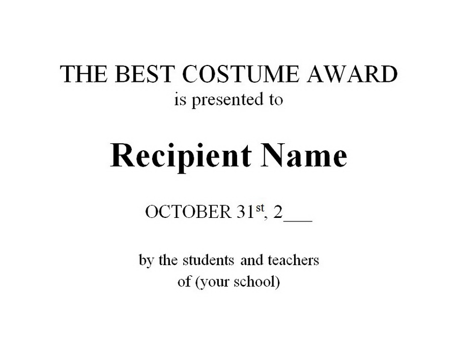 The Best Costume Award Free Word Templates Customizable Wording
