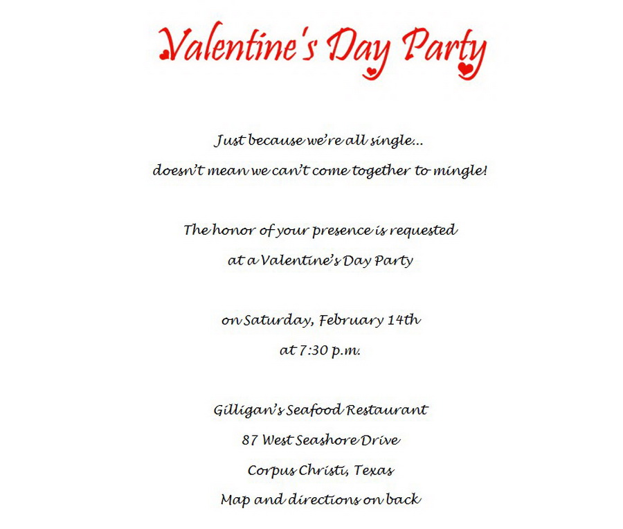 Valentine\u0027s Day Party Invitations 1 Wording Free Geographics Word