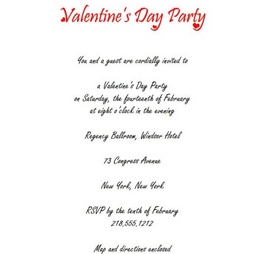 Valentines Day Party Invitations 3 Wording Free Geographics Word - 's day party invitation