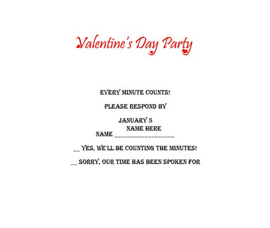 Valentines Day Party Response Cards RSVP 1 Wording Free Word Templates - valentines card templates word