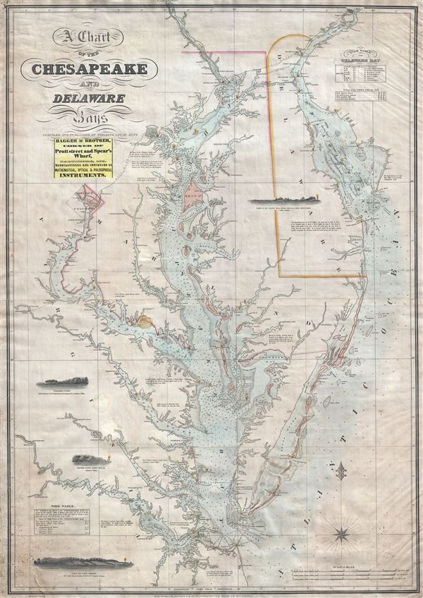 A Chart of the Chesapeake and Delaware Bays Geographicus Rare