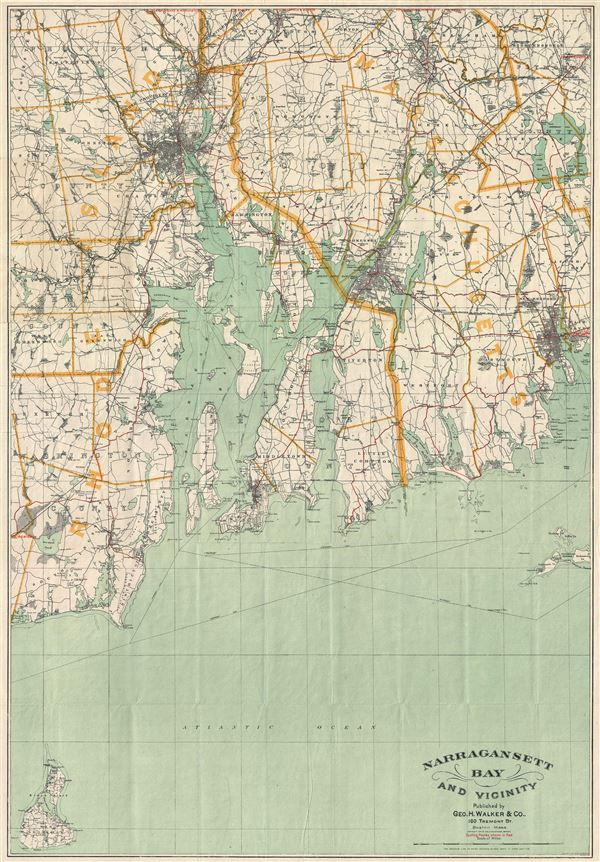 Narragansett Bay and Vicinity Geographicus Rare Antique Maps