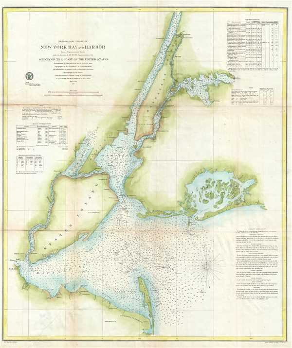 Preliminary Chart of New York Bay and Harbor Geographicus Rare