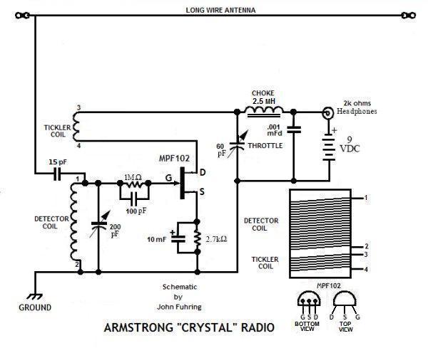 armstrong crystal radio schematicdiagram