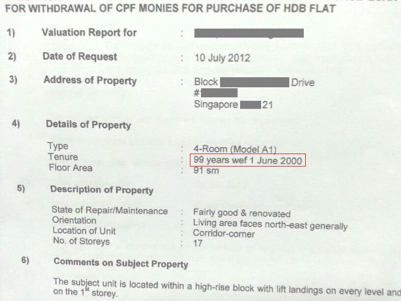 HDB Valuation Report  Lease Started - Singapore Property Review