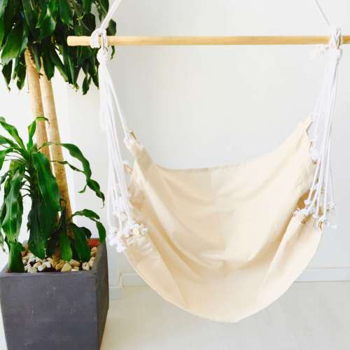 Hamaca silla colgante de tela lisa de algodón hecha a mano