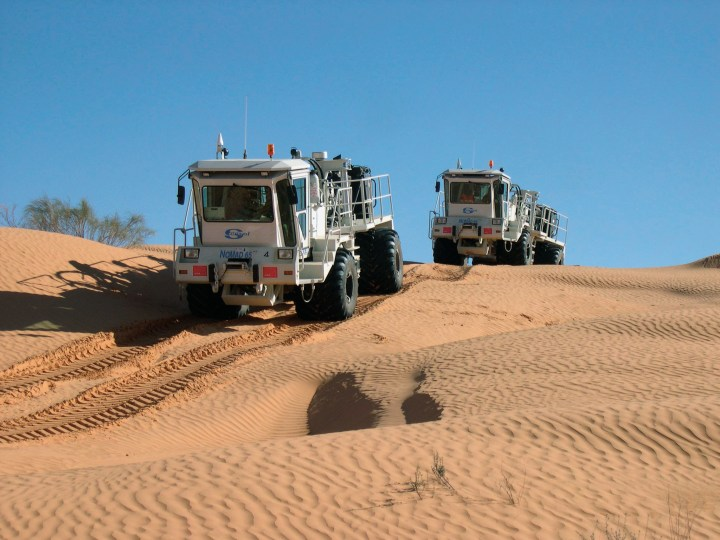 Vibroseis trucks in the desert - Courtesy of CGG