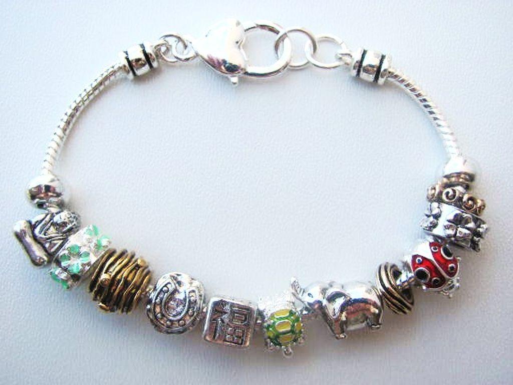Pandora Inspired Lucky Horse Shoe Charm Bead Bracelet