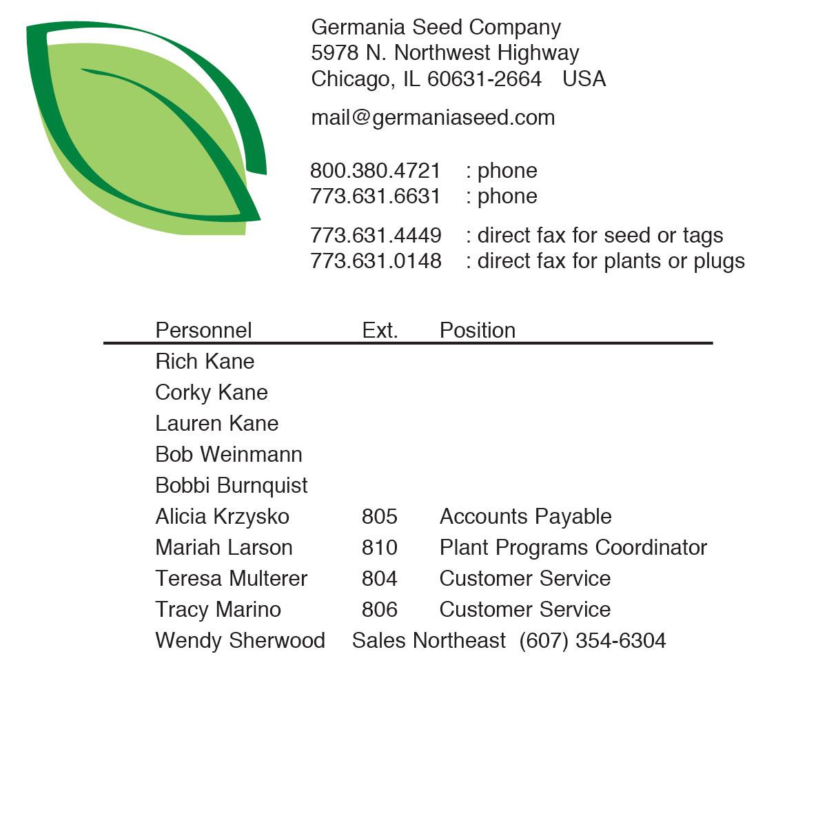 Germania Seed Company - ph 800-380-4721
