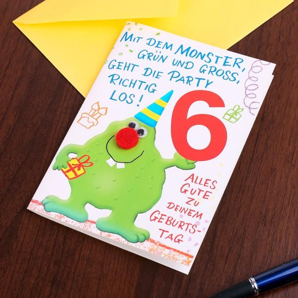 Geburtstagskarte zum 6 Geburtstag