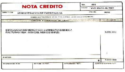 Soportes contables internos y externos - formato nota de credito
