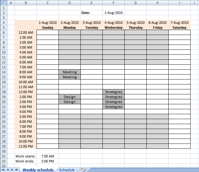 Employee Work Schedule Business Form Template Setting Up Your Work Hours In A Weekly Schedule In Excel