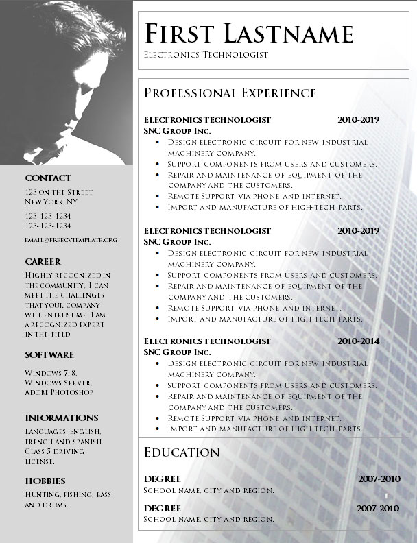 No Charge CV Template to Print in Word Format (1060) \u2022 Get A Free CV