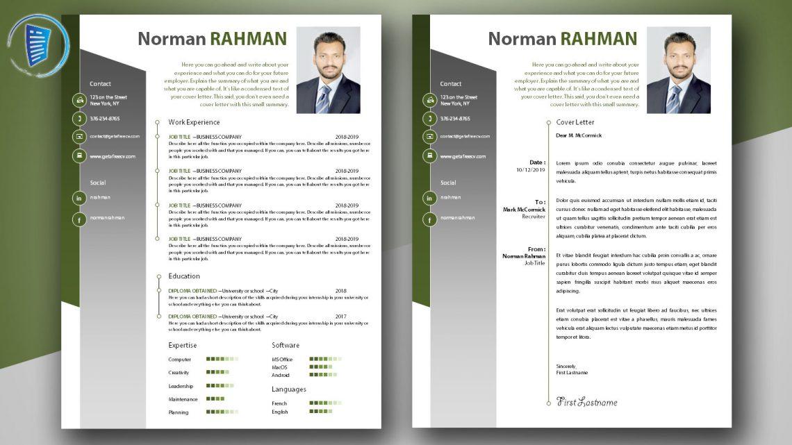 Professional CV and Cover Letter Templates \u2022 Get A Free CV \u2022 Template
