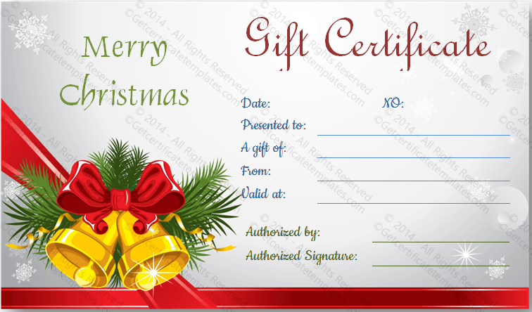 Blank Gift Certificate Template Free Christmas Example Good Resume