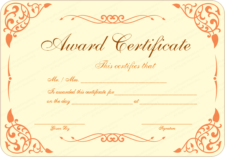 Cooking Contest Award Certificate Template – Cooking Certificate Template
