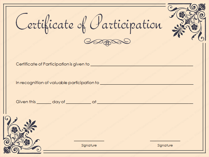 Certificate Of Participation Template Download – Certificate of Participation Template
