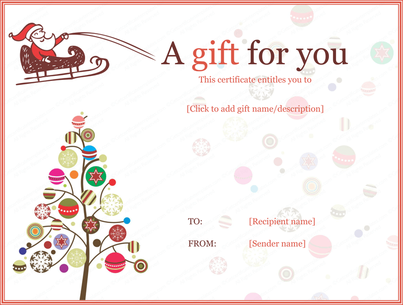 Xmas Gift Certificate Template Word – Gift Voucher Templates Word