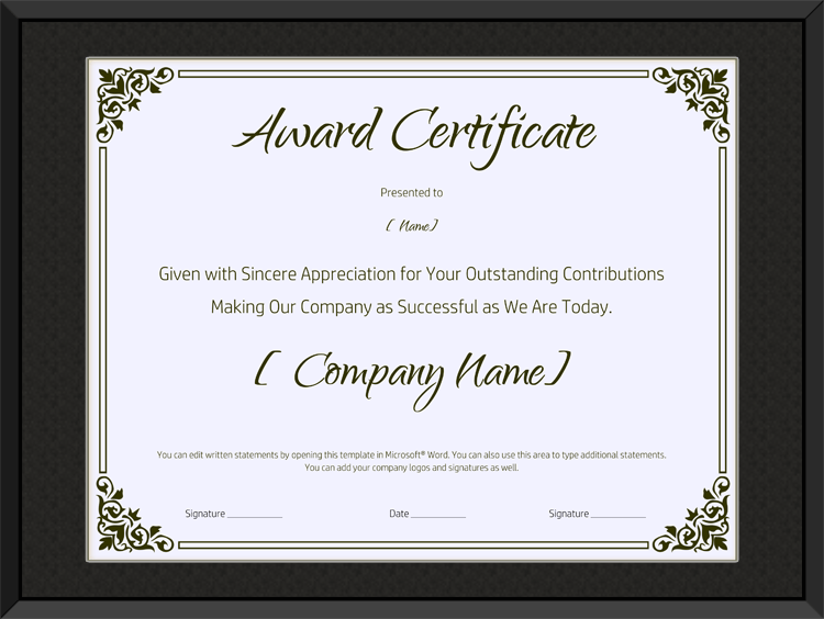 award templates microsoft word