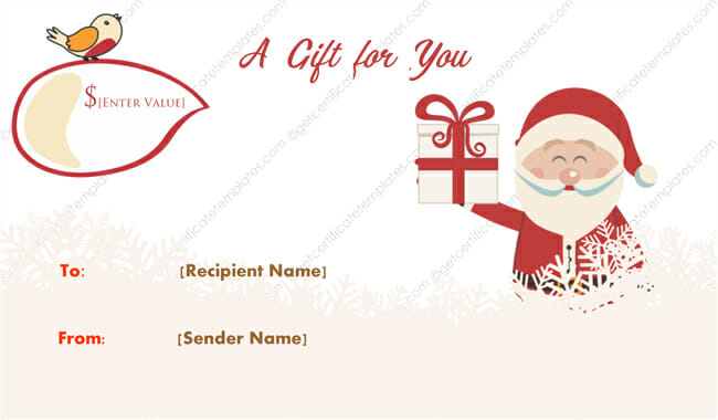 Merry Santa Christmas Gift Certificate Template - Get Certificate