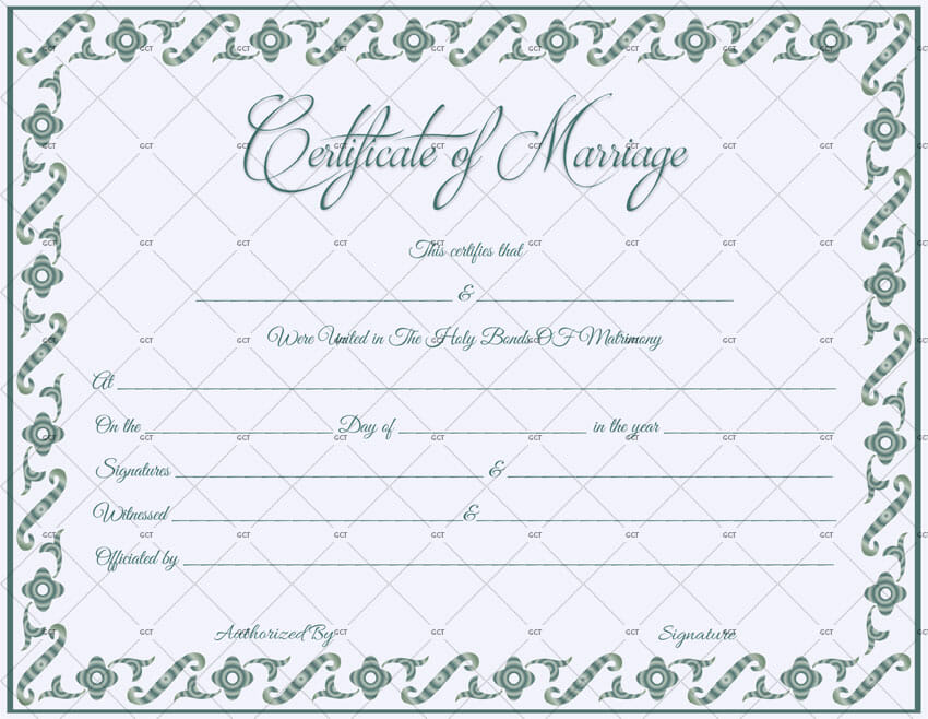 Fillable Marriage Certificate Template - Get Certificate Templates