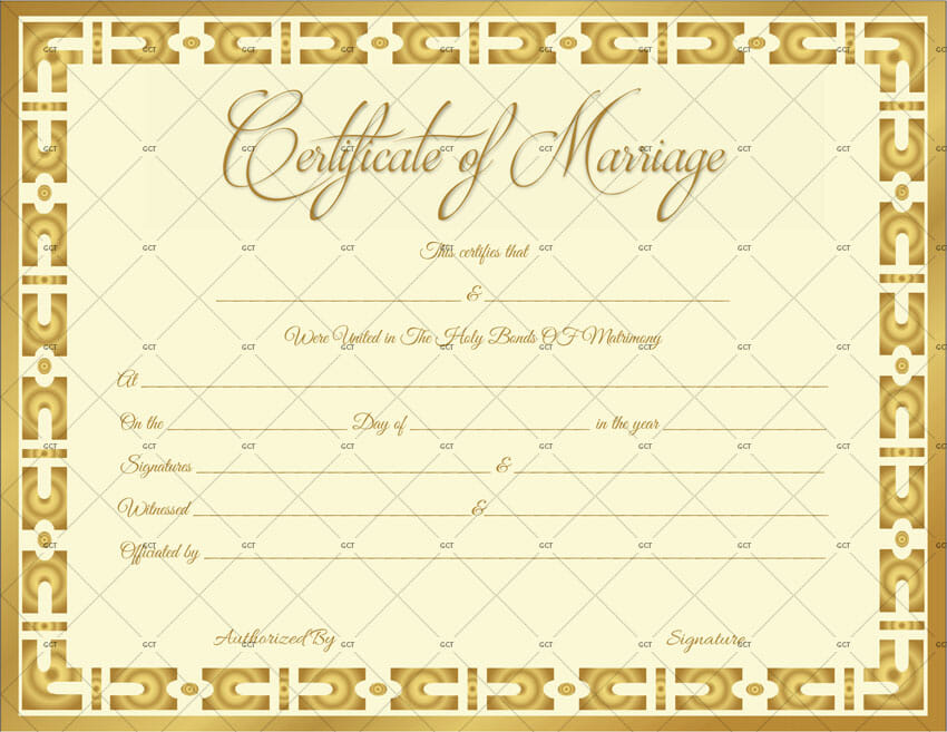 Marriage Certificate Template (Gold Vintage) - Get Certificate Templates