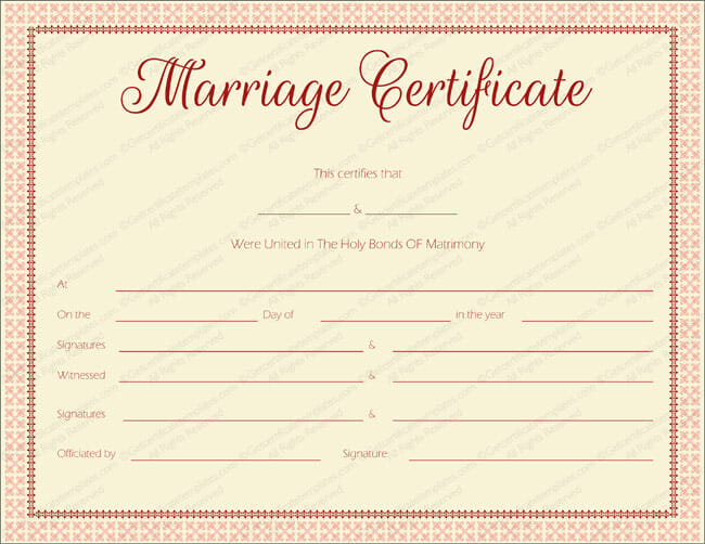 fake marriage certificate free