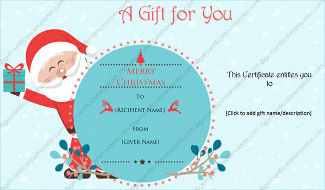 Christmas Gift Certificate Templates - Printable  Editable for Word