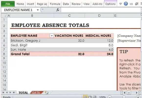 employee absence template