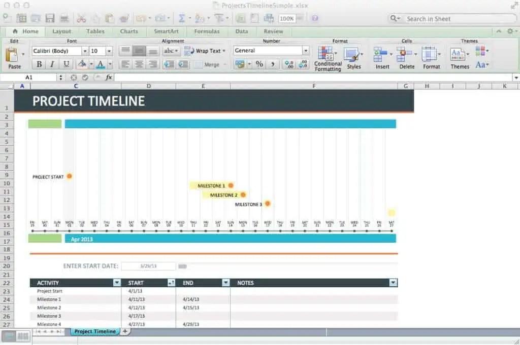 timeline excel template - gerardradio - simple timeline template