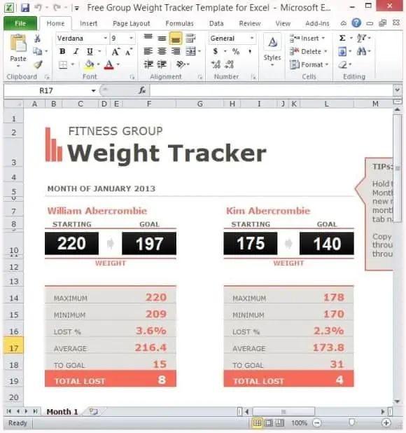 excel spreadsheet for weight loss percentage