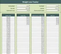 Weight Loss Tracker Spreadsheet