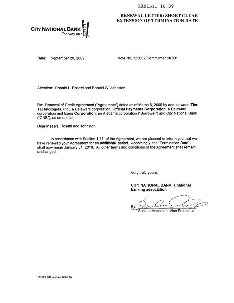 Lease Renewal Letter Landlordstation Official Payments Holdings Inc Form 10 K Ex 1039